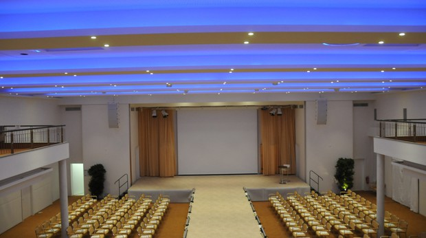 Conference room with blue ceiling lights